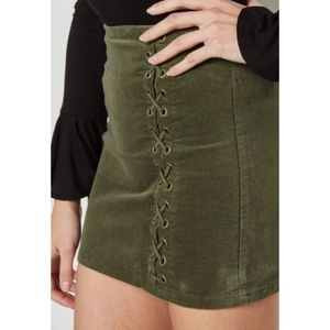 Dresses & Skirts - Velvet Lace-Up Skirt  Khaki Green